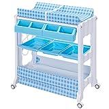 Wickeltisch Wickelkombination Wickelkommode Wickelregal Wickelauflage mobiler + Baby Badewanne (blau)