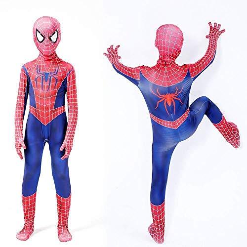 Set Spiderman Kostüm Männer 2 - Remy Spiderman Kostüm Cosplay Party Set Erwachsene Anime Trikot Halloween Draw Kleidung + Spiderman Keychain Set,Blue-140