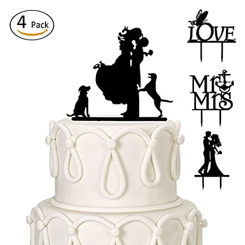 ANPHSIN Set of 4 Romantic Mr and Mrs, Lover, Couple with Two Dogs, Bride and Groom Wedding Cake