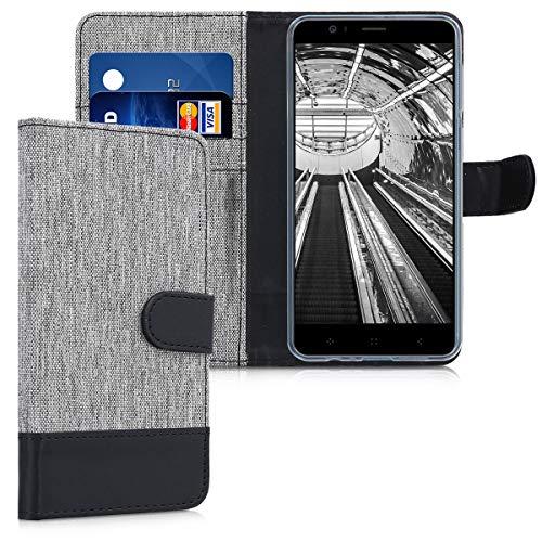 kwmobile Funda para Elephone P8 Mini - Carcasa de Tela y [Cuero sintético] -...