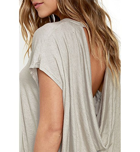 iMELY Damen Shirt Casual Blusen O Neckline Loose Fit Fashion Top Tee T-Shirts Grau