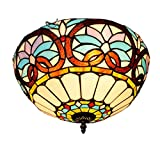 GAOLIQIN Luz de Techo Estilo Tiffany , 60W , Lámpara de Techo de Vidrio Tintado Barroco LED , Lámpara de Corredor , Lámpara empotrada en el Techo del balcón del Pasillo Decoración de Techo , E27