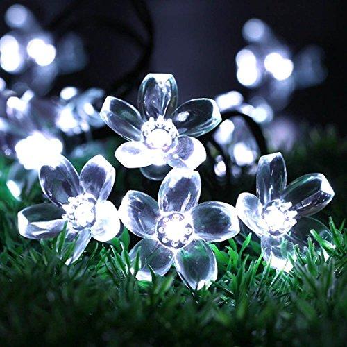 Gaddrt 5M 50LED Pfirsich-Blume Solarbetriebene Beleuchtung angetriebene Lampen Fenster Vorhang String Lichter Lamp Haus und draußen FreienPartei Hängeleuchte Light Auffallend Hochzeit Garten Outdoor BBQ Dekor (Weiß)