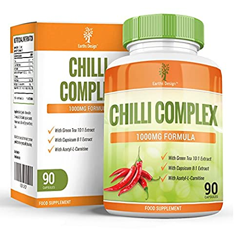 Chilli Complex - 800mg Capsaicin - Cayenne Pepper Capsules with Acetyl L Carnitine, Green Tea - We Added Black Pepper to Increase Absorption - 90 Capsules (3 Months Supply) by Earths Design