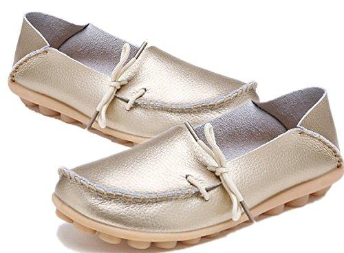 Azue Damen Kunstleder Mokassins Ultra-Weich Loafer Nubukleder Bootsschuhe Flach Geschlossen Schuhe Golden