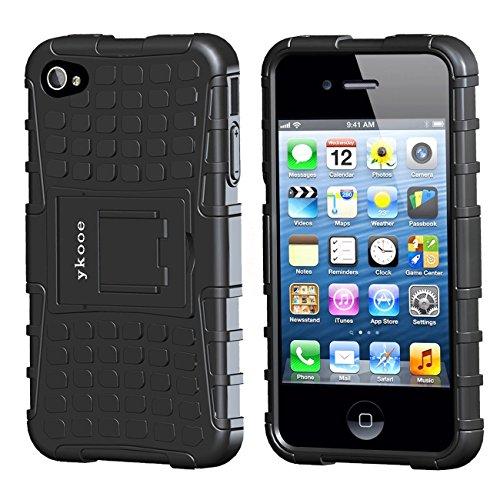 ykooe iPhone 4S Fall, iPhone 4Case, Heavy Duty Schutzhülle Dual Layer Hybrid stoßfest Schutzhülle mit Standfunktion für Apple iPhone 4/4S, iPhone 4s, iPhone 4 Schwarz