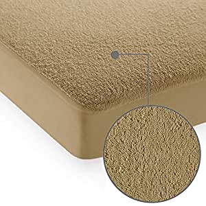 "Cloth Fusion Saviour 2nd Gen Waterproof Terry Mattress Protector- King Size (72""x72""), Beige"