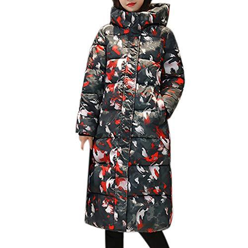 TianWlio Mäntel Frauen Weihnachten Damen Mantel Langarm Strickjacke Jacke Outwear Herbst Winter Warme Druck Mantel Stehkragen Dicke Warme Dünne Lange Jacke Mantel