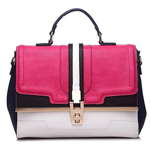 Grande borsa multicolore semi strutturato Satchel Borsa Maniglia Superiore Borsa a tracolla Pink-White-Navy (GU439)