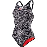 Speedo Damen Boom Muscleback Badeanzug mit Allover-Print Swimwear, Black/White),42 EU