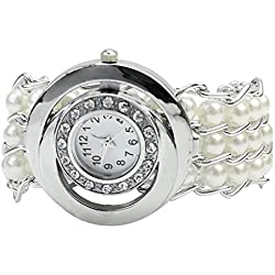 Women Girls Faux Pearl Beads Wrist Watch Bracelet Bangle Rhinestones Round Dial