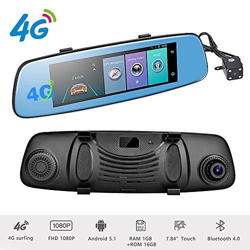 """Podofo® 4G DVR Voiture Enregistreurs de Conduite Caméra de Recul 7.84"""" Android 5.1 Écran Tactile ADAS Remote Moniteur Rétroviseur 1080p Full HD Double Caméra de Voiture Dash cam GPS Navigation Enregistreur de Vidéo"""