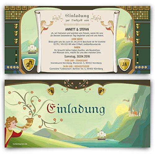 Einladungskarten (20 Stück) Mittelalter Hochzeit Ritter Schloss Burg Einladung Karten