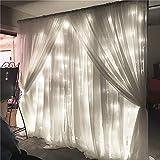 SOLMORE LED Lichterkette Vorhang Weiß 3m x 3m Mit 8 Modi 300LEDs Lichtervorhang Romantisch Licht Schnur String Fairy Lights für Innen Party Hochzeit Home Decoration Garden