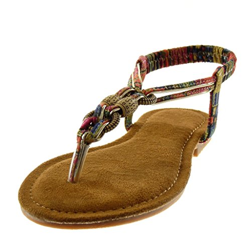 Angkorly Moda Zapatos Sandalias Flip Flop Slip-on Folk Strap Mujeres Fancy Jewelry Block Tacón 1.5 Cm Rojo