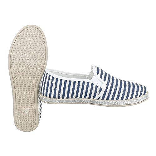 Ital-Design Slipper Damenschuhe Low-Top Stretch Halbschuhe Blau Weiß 6598-Y