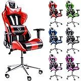 Diablo X-Eye Gaming Stuhl, Bürostuhl, Chefsessel, Gaming Chair, Schalensitz, Racer Drehstuhl mit Armlehnen, Sportsitz, Kunstlederbezug (schwarz-rot)