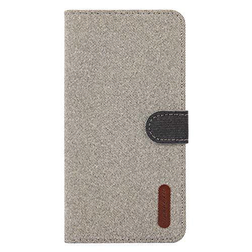 Cozy Hut Kompatibel mit Xiaomi Mi 8 Lite Hülle, Canvas PU Leder Brieftasche Geldbörse Handyhülle Tasche Case Schutzhülle Hülle mit Handschlaufe Strap für Xiaomi Mi 8 Lite - Hellgelb -