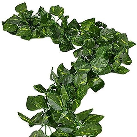Jianzhenkeji 80 inch/200 cm Faux feuillage Guirlande Motif feuilles de vigne de lierre verdure artificiel Home
