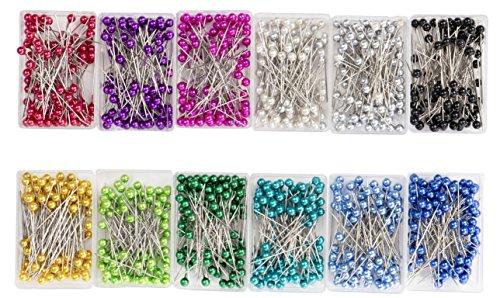 -piece Ball Head Pins, gerade Quilten Pins mit Perle Köpfe für Schneidern, Schmuck, Nähen Projekte, je 100Stück 12sortierte Farben, 3,6cm ()