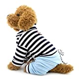 SELMAI Stripe Pet Outfits for Small Dog Shirt Top Denim Pants Doggie Casual Wear Poodle Chihuahua Clothes Outfits Clothes Apparel Blue XXL
