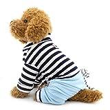 Selmai JumpSuit pour petit chien chiot avec Denim Pantalon à rayures pour homme pour animal domestique Doggie Chihuahua Caniche Shih Tzu tenues Vêtements Apparel