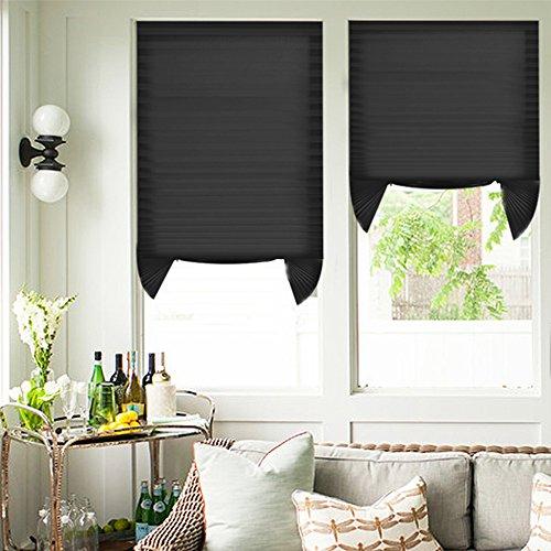 Magiea tenda plissettata senza fori 110x182.88cm 2 pezzi nero tenda plisettata semi-oscuranti persiana tagliabile tenda per porta finestra