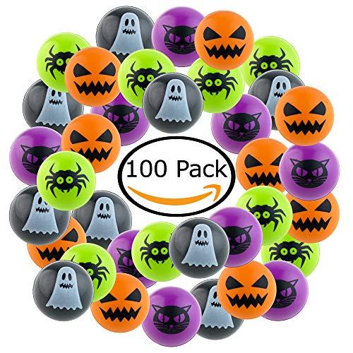 Kompanion Lot de 100 pièces de balles rebondissantes d'halloween pour Les fêtes d'halloween, Les remplisseurs de Sacs et Les Sacs de friandises, des Cadeaux Uniques pour Halloween