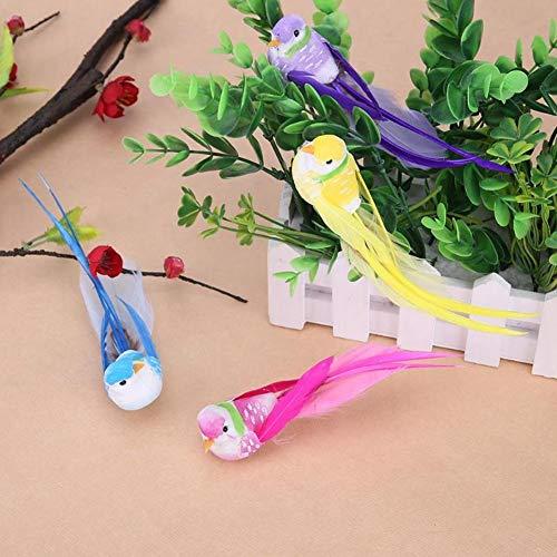 lwingflyer 4 künstliche Schaumstoff-Vögel mit Metallclip, Feder, Vogel-Ornamente DIY Basteln für Hochzeit, Dekoration, Zuhause, Garten, Party, Zubehör 12 cm Metal Clip -