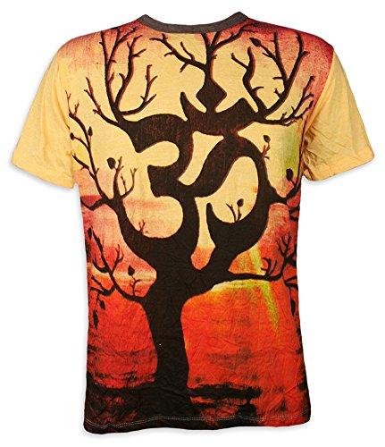 Weed Herren T-Shirt Om Baum Des Lebens Aom Symbol Buddhismus Hinduismus Yoga (Gelb M)
