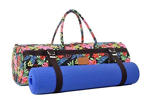 Sac de yoga XL »Malati« de #DoYourYoga, 100% toile de coton de haute qualité (toile à voile), fabriqué avec soin, pour les matelas de yoga, de pilates, de fitness et de gymnastique ULTRA-ÉPAIS de dimensions allant jusqu'à 186 cm x 62 cm x 1,5cm, fleurs vives
