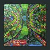 Hundertwasser Poster Kunstdruck Bild - Grüne Stadt Green town - 48 x 48 cm - mit Folienprägung - Kostenloser Versand