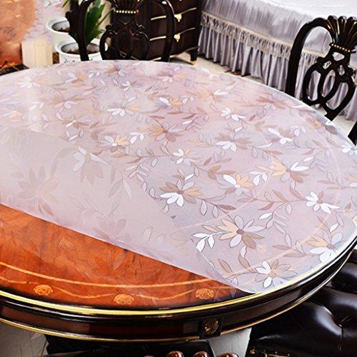 Nappes Ronde en Verre Souple en PVC Tapis De Table À Thé en Plastique Imperméable À l'huile (Couleur : Thickness -1.5mm, Taille : Diameter 135 cm)