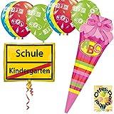HHO Schulanfang Schuleinführung Dekoration Ballonset 2 Folienballons + 8 Luftballons