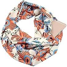Vivianu - Bufanda de bucle infinito para mujer con bolsillo oculto con cremallera de doble capa
