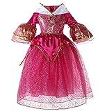 LCXYYY Mädchen Prinzessin Aurora Retro Horn Hülse Kostüm Karneval Verkleidung Party Kleid Cosplay Hochzeit Blumenmädchenkleider Faschingskostüm Festkleid Weinachten Halloween Fest Dornröschen Rosa