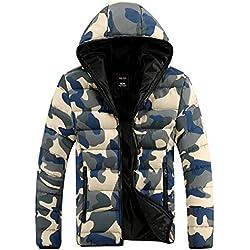 Demarkt Capa de la chaqueta de camuflaje Unisex invierno Outwear Espesar algodón Color Azul (M)