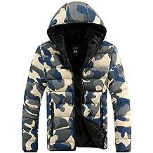 Demarkt Capa de la chaqueta de camuflaje Unisex invierno Outwear Espesar algodón Color Azul (XL)