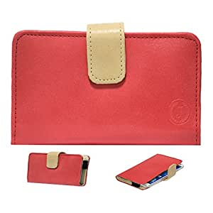 Jo Jo Nillofer Leather Carry Case Cover Pouch Wallet Case For Xolo A800 Red Beige
