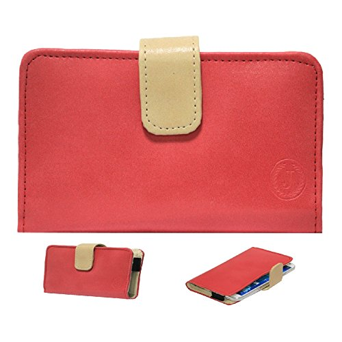 Jo Jo A8 Nillofer Leather Carry Case Cover Pouch Wallet Case For Lenovo S850 Red Beige  available at amazon for Rs.295