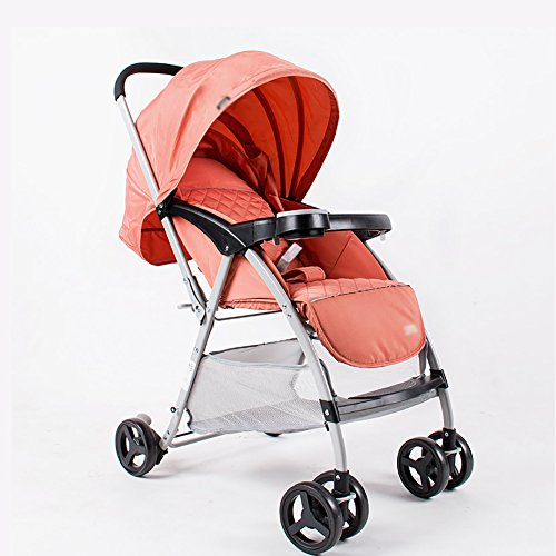 Poussette ERRU légères ultra-légère de bébé peut s'asseoir inclinables Chariot d'enfant parapluie voiture Chariots de bébé bleu Orange Purple Buggy citadines (Couleur : Orange)