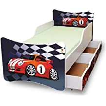 BEST FOR KIDS KINDERBETT 90x200 MIT ZWEI SCHUBLADEN CARS I