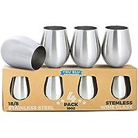 Copas de vino de acero inoxidable, sin tallo – Juego de 4 elegantes vasos para