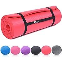 TRESKO Tapis d'exercice fitness tapis de yoga tapis de Pilates tapis de gymnastique, 6 couleurs au choix, Dimensions 185 cm x 60 cm, 2 épaisseurs / sans Phtalates / en Mousse NBR / respecte la peau, souple, isolante au froid