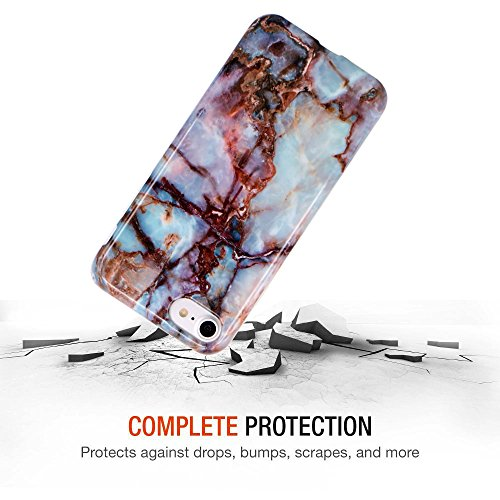 Coque iPhone 7 Plus, Coque iPhone 8 Plus, JIAXIUFEN Silicone TPU Étui Housse Souple Antichoc Protecteur Cover Case - Rose Bleu Marbre Désign Jade Marron