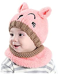 95e75c817c75 Tuopuda® Chapeau Bonnet Enfant Hiver Bébé fille garçon Ensemble Bonnet  Echarpe Chaudes Bonnet tricoté