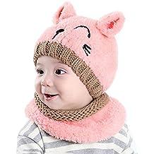 dd9149bc2e57a tuopuda Gorro y Bufanda de Invierno para bebe niña niño Sombrero Gorro de  punto