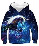 TUONROAD Sweatshirt Niño Gracioso Unicornio 3D Impreso Hoodie Niña Ligero Sport Pullover Confortable Sudaderas con Capucha Unisex Manga Larga Sweater Hoody con Bolsillos Cordón - L