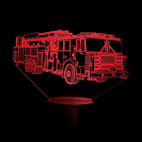 3D Feuerwehr Illusions LED Lampen Tolle 7 Farbwechsel Acryl berühren Tabelle Schreibtisch-Nacht licht mit USB-Kabel für Kinder Schlafzimmer Geburtstagsgeschenke Geschenk.