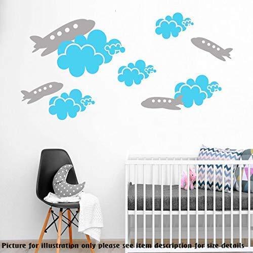 Cloud Wandtattoo (Satz von Wolken Flugzeuge Wandtattoo - Flugzeug Aufkleber - Kinderzimmer Wandtattoo - Kinderzimmer Wandtattoo - Cloud Aufkleber - Cloud Vinyl Wandaufkleber)
